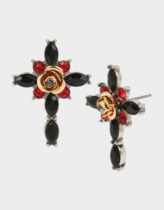 ROCKIN RICHES CROSS STUD EARRINGS BLACK