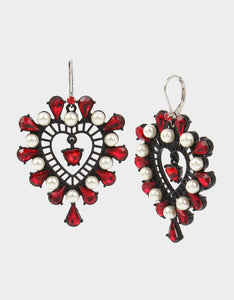 ROCKIN RICHES HEART EARRINGS RED