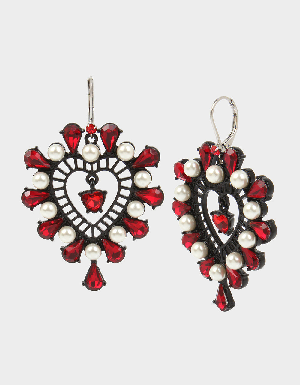 ROCKIN RICHES HEART EARRINGS RED - JEWELRY - Betsey Johnson