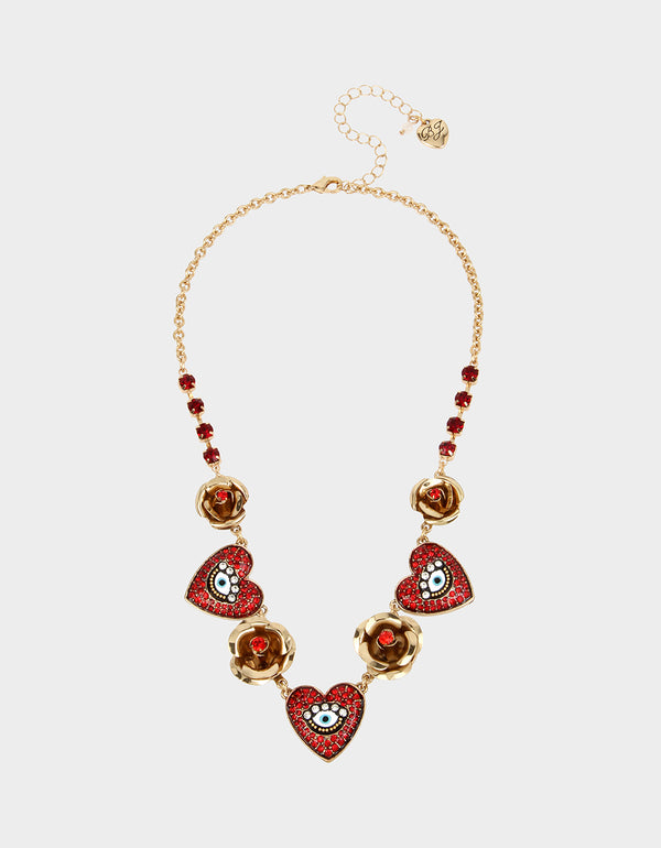 ROCKIN RICHES HEART FRONTAL NECKLACE RED - JEWELRY - Betsey Johnson