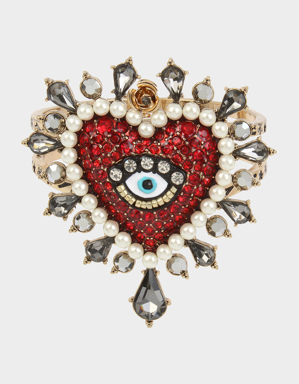 ROCKIN RICHES HEART HINGE BANGLE RED - JEWELRY - Betsey Johnson
