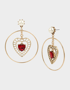ROCKIN RICHES HEART ORBITAL EARRINGS RED