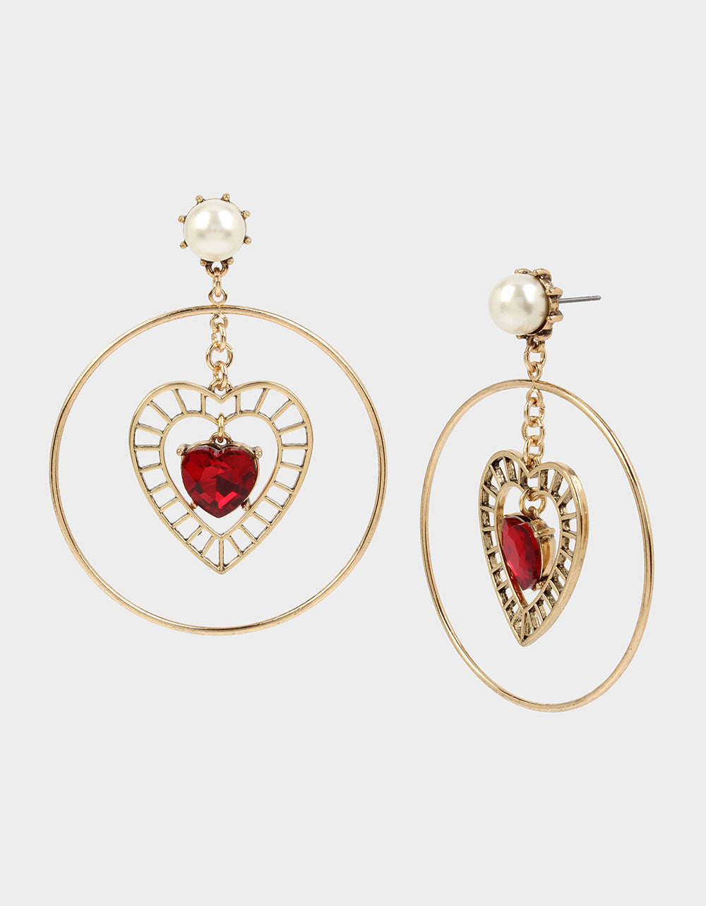 ROCKIN RICHES HEART ORBITAL EARRINGS RED - JEWELRY - Betsey Johnson