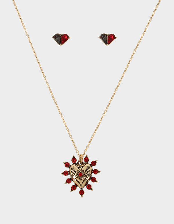 ROCKIN RICHES HEART SET RED - JEWELRY - Betsey Johnson