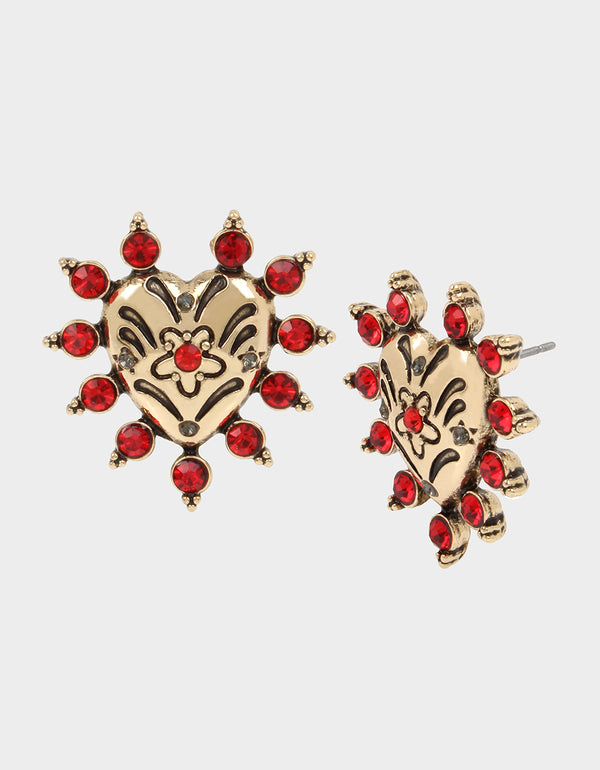 ROCKIN RICHES HEART STUD EARRINGS RED - JEWELRY - Betsey Johnson
