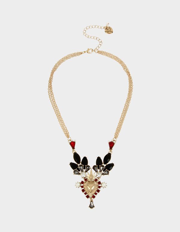 ROCKIN RICHES MINI BIB NECKLACE RED - JEWELRY - Betsey Johnson