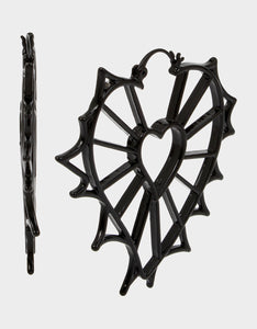 ROCKIN RICHES OPENWORK HEART EARRINGS BLACK