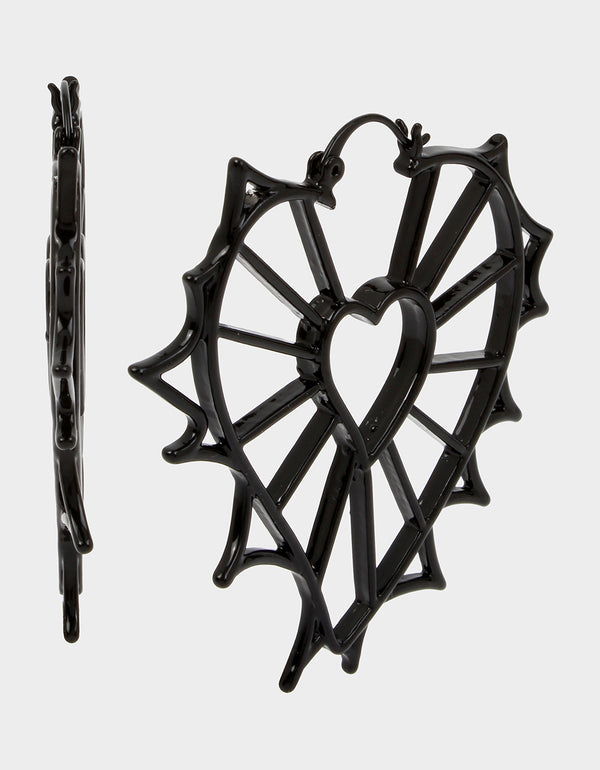 ROCKIN RICHES OPENWORK HEART EARRINGS BLACK - JEWELRY - Betsey Johnson