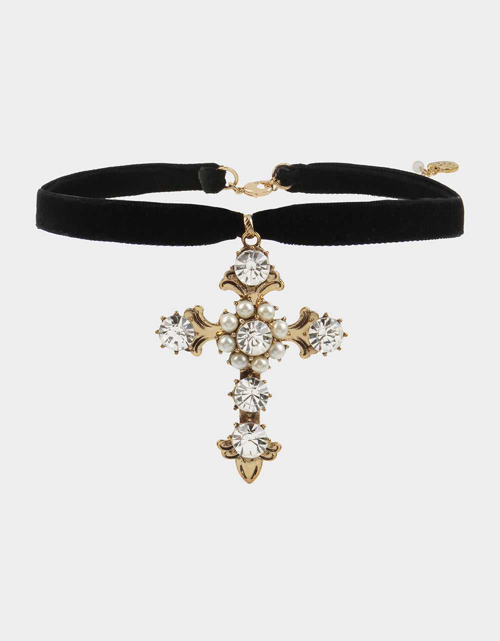 ROCKIN RICHES SMALL CROSS PENDANT CRYSTAL - JEWELRY - Betsey Johnson