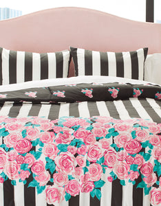 ROMANTIC ROSES KING COMFORTER SET PINK