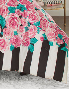 ROMANTIC ROSES TWIN COMFORTER SET PINK