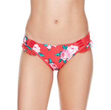 ROSE FANTASY RUFFLE HIPSTER BOTTOM RED MULTI - APPAREL - Betsey Johnson