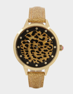 ROUND AND ROUND LEOPARD WATCH GOLD