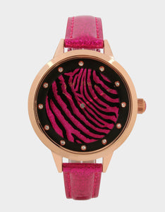 ROUND AND ROUND ZEBRA WATCH PINK