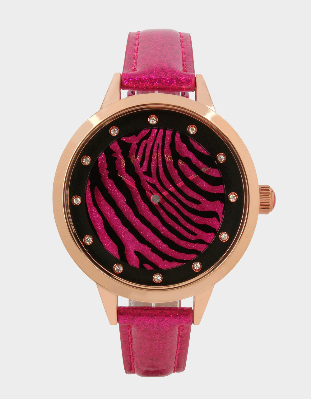 ROUND AND ROUND ZEBRA WATCH PINK - JEWELRY - Betsey Johnson