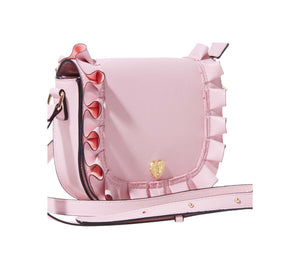 RUFFLE ME UP SADDLE CROSSBODY BLUSH