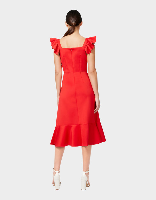 RUFFLE SLEEVE KNIT DRESS RED - APPAREL - Betsey Johnson