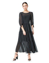 RUFFLED AND DOTTED MAXI DRESS BLACK-WHITE - APPAREL - Betsey Johnson