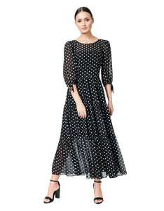 RUFFLED AND DOTTED MAXI DRESS BLACK-WHITE