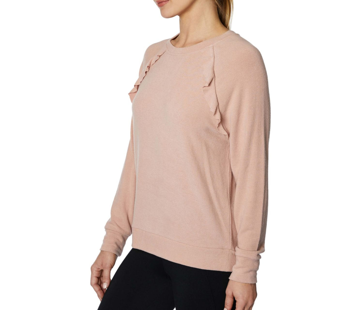 RUFFLED RAGLAN PULLOVER BLUSH - APPAREL - Betsey Johnson