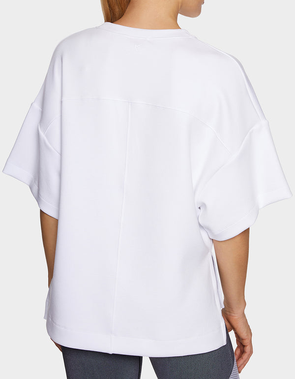 SCUBA SIDE SPLIT TOP WHITE - APPAREL - Betsey Johnson