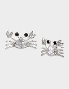 SEALIFE CRAB STUD EARRINGS CRYSTAL