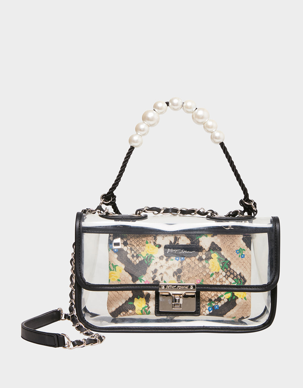 SEEING CLEARLY PEARL SWAG BAG NATURAL SNAKE