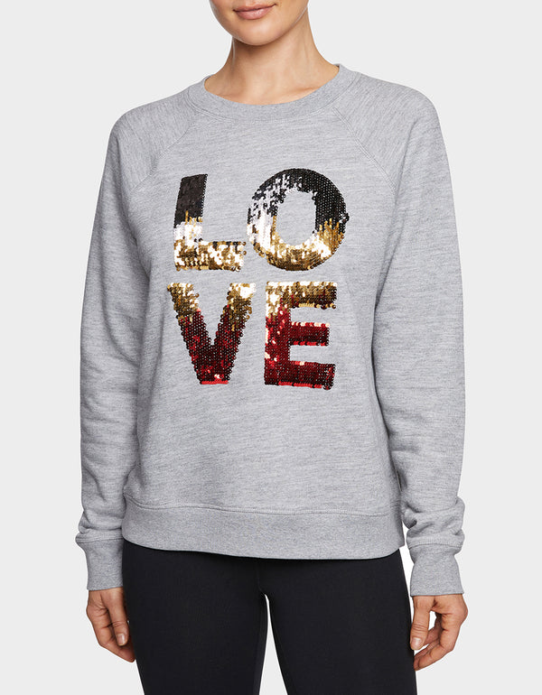 SEQUIN LOVE SWEATSHIRT GREY - APPAREL - Betsey Johnson
