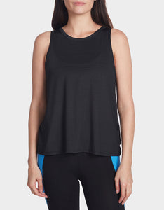 SHEER STRIPE SWING TANK BLACK