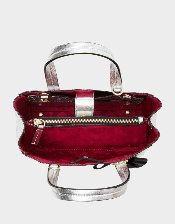 SHOP AROUND THE CLOCK TOTE SILVER - HANDBAGS - Betsey Johnson