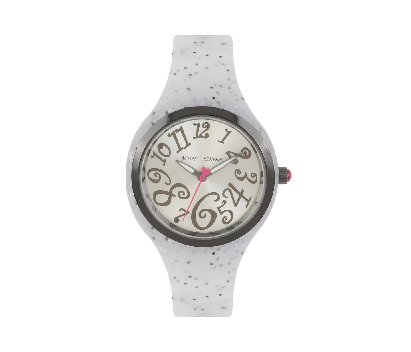 SILICONE GLITTER SILVER WATCH SILVER - JEWELRY - Betsey Johnson