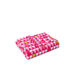 SKULL PARTY ULTRA SOFT PLUSH THROW FUCHSIA