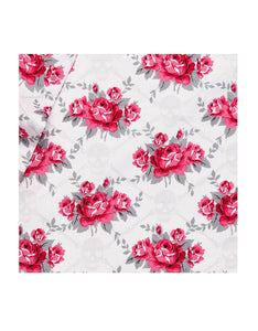 SKULL ROSE TRELLIS FULL SHEET SET RED