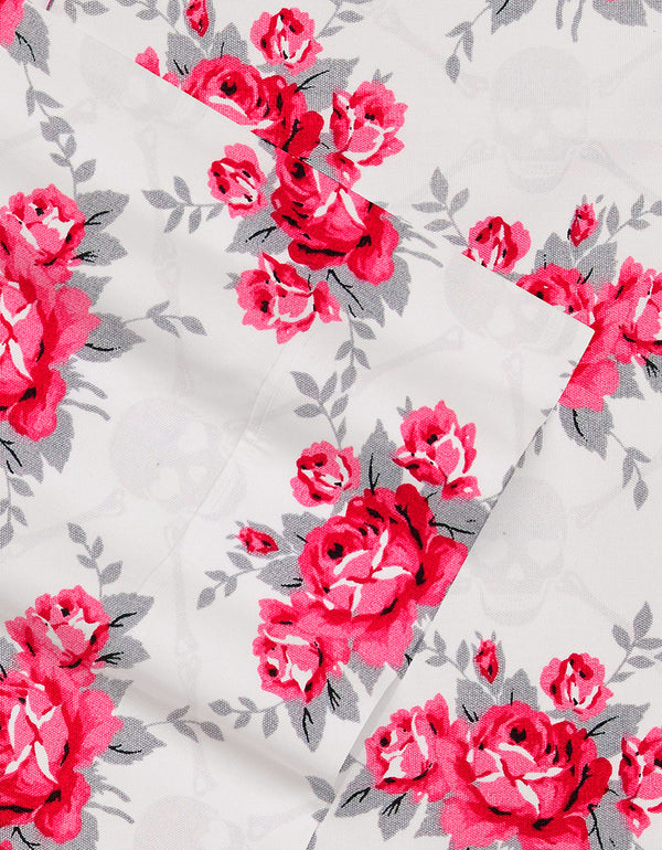 SKULL ROSE TRELLIS FULL SHEET SET RED - BEDDING - Betsey Johnson