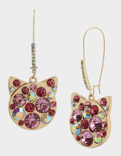SKULLS AND CATS KITTY HOOK EARRINGS PINK - JEWELRY - Betsey Johnson