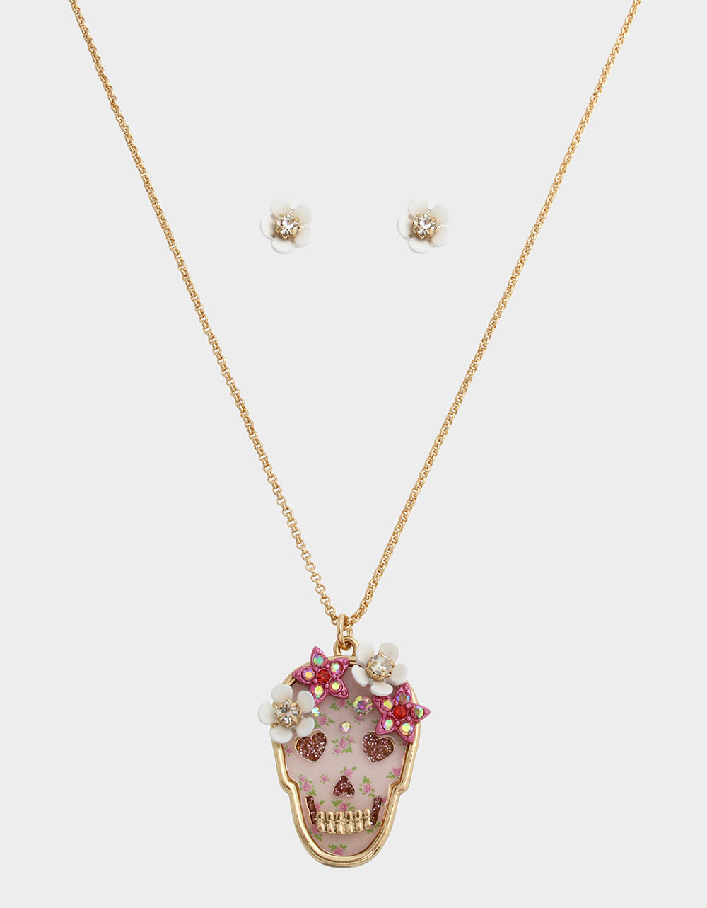 SKULLS AND CATS SKULL SET PINK - JEWELRY - Betsey Johnson