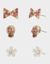 SKULLS AND CATS SKULL STUD SET PINK - JEWELRY - Betsey Johnson