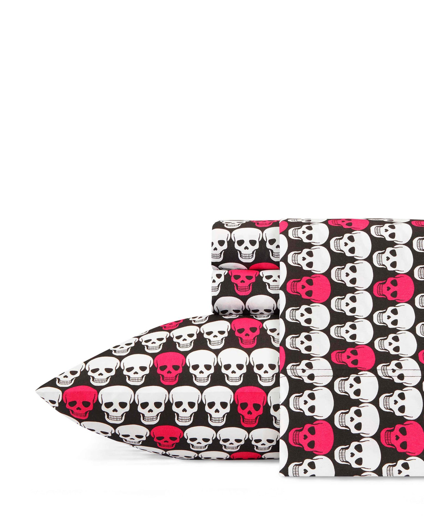 SKULLS MICROFIBER FULL SHEET SET BLACK MULTI - BEDDING - Betsey Johnson
