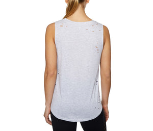 SLAY ALL DAY DISTRESSED HIGH LOW MUSCLE TEE GREY