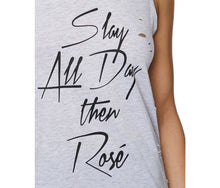 SLAY ALL DAY DISTRESSED HIGH LOW MUSCLE TEE GREY - APPAREL - Betsey Johnson