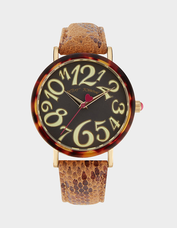 SLEEK SLITHERING WATCH TAN - JEWELRY - Betsey Johnson