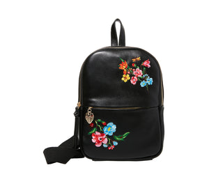 SLING SHOT FLORAL BACKPACK BLACK
