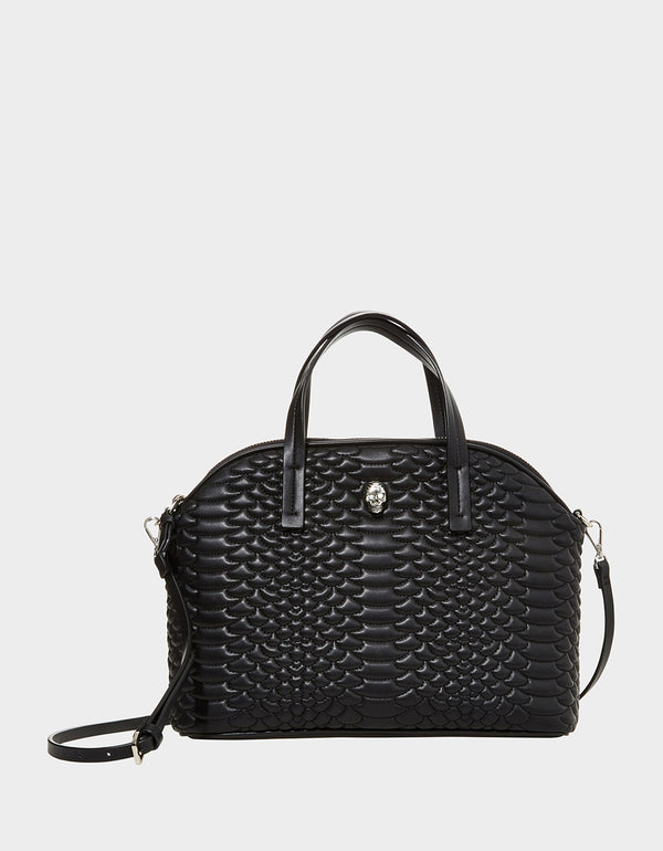 SLITHERING AROUND SATCHEL BLACK - HANDBAGS - Betsey Johnson