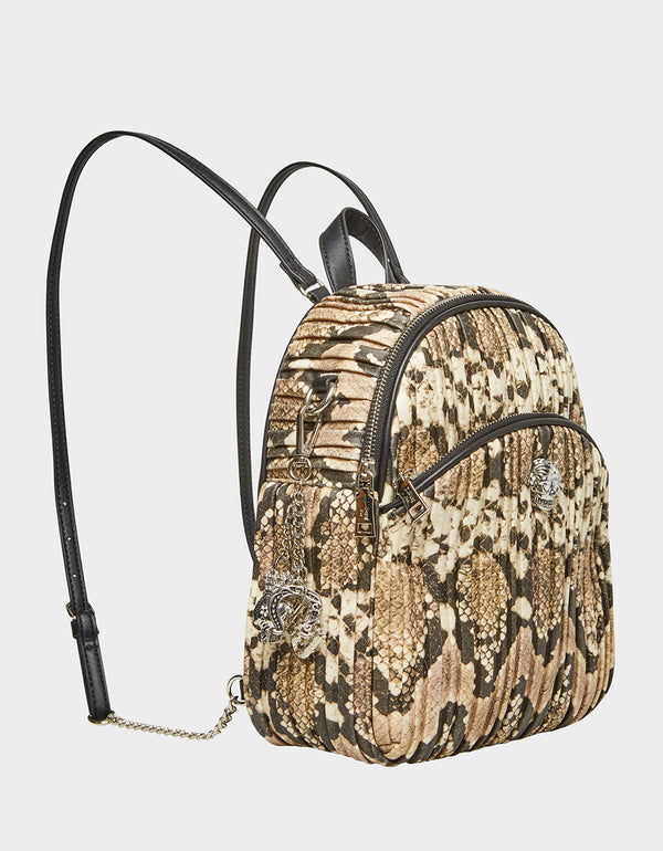 SLITHERING SKULL BACKPACK NATURAL SNAKE - HANDBAGS - Betsey Johnson