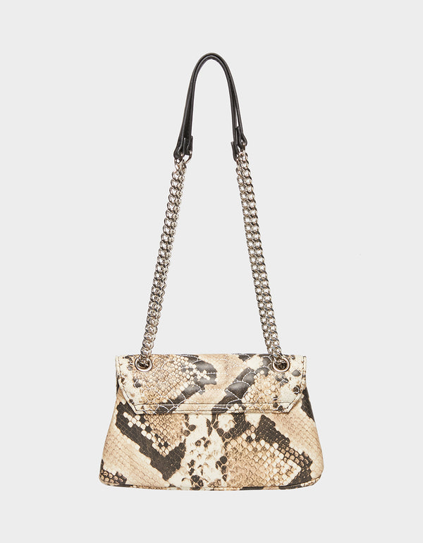 SLITHERING SKULL FLAP CROSSBODY NATURAL SNAKE - HANDBAGS - Betsey Johnson