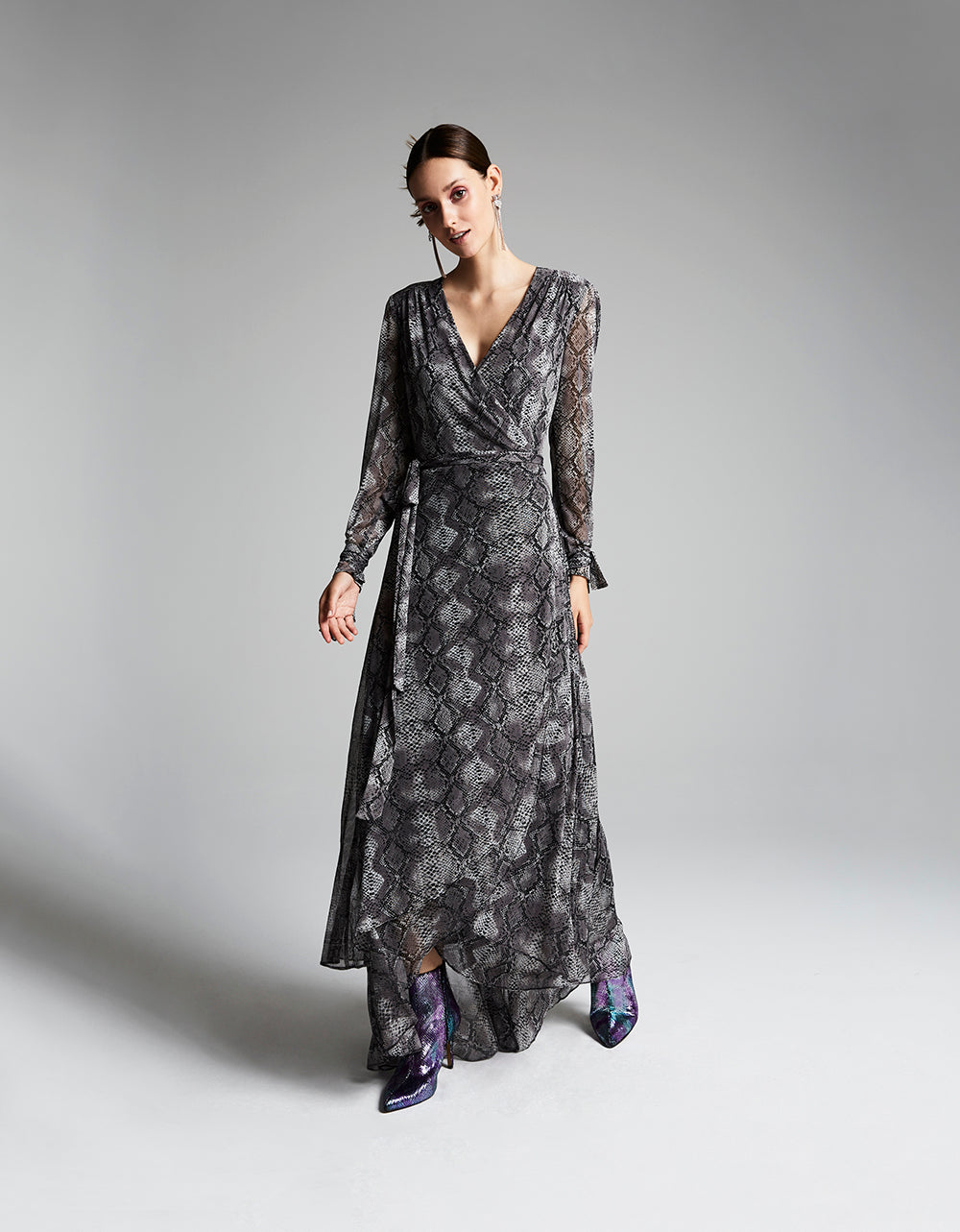SLITHERING MESH MAXI DRESS GREY - APPAREL - Betsey Johnson