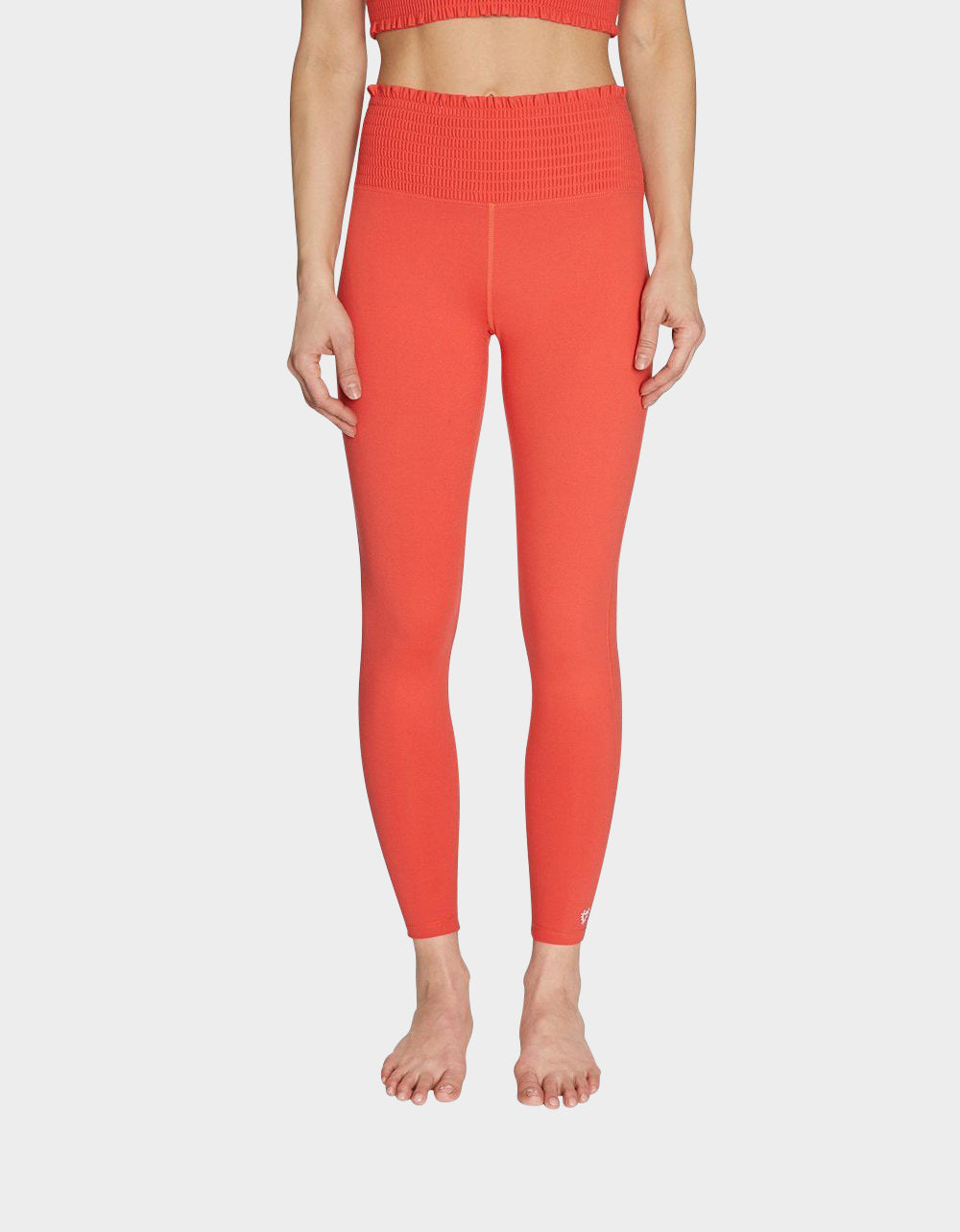 SMOCKED WAIST HIGH RISE LEGGING CORAL - APPAREL - Betsey Johnson