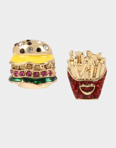 SNACK ATTACK BURGER AND FRIES STUDS MULTI