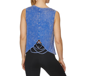 SPLIT BACK MUSCLE TANK BLUE