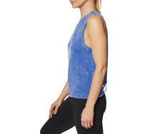 SPLIT BACK MUSCLE TANK BLUE - APPAREL - Betsey Johnson